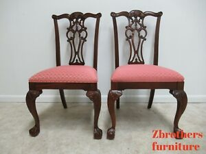 2 Ethan Allen 18th Century Mahogany Claw Chippendale Dining Room Side Chairs A