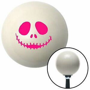 Pink Skull Face Ivory Shift Knob With 16mm X 1 5 Insert Project Street Rod Icon