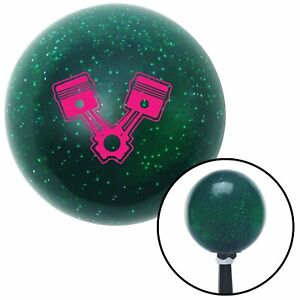 Pink 2 Pistons Green Metal Flake Shift Knob With 16mm X 1 5 Insert Early Hot Rod