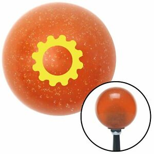 Yellow Solid Gear Orange Metal Flake Shift Knob With 16mm X 1 5 Insert Vintage