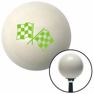 Green Checkered Flags Ivory Shift Knob With 16mm X 1 5 Insert 1934 Gasser Parts