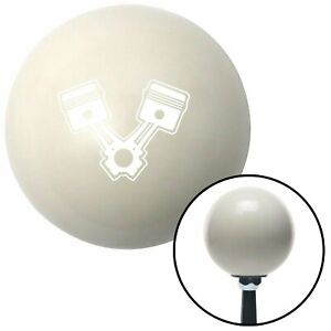 White Pistons Ivory Shift Knob With 16mm X 1 5 Insert Amc Modified Rat Rod Ltr