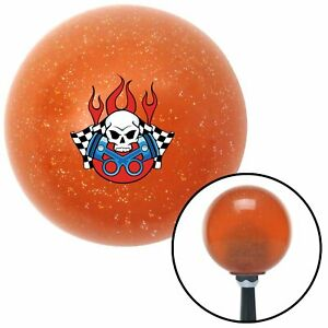 Skull And Pistons 2 Orange Metal Flake Shift Knob With 16mm X 1 5 Insert 7 3