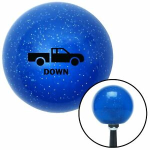 Black Automotive Dump Bed Down Blue Metal Flake Shift Knob W 16mm X 1 5 Insert