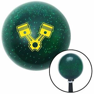 Yellow Pistons Green Metal Flake Shift Knob With 16mm X 1 5 Insert Circle Track