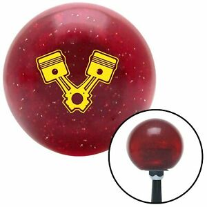 Yellow Pistons Red Metal Flake Shift Knob With 16mm X 1 5 Insert G Force Gear