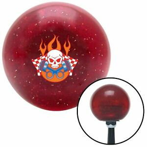 Skull And Pistons 3 Red Metal Flake Shift Knob With 16mm X 1 5 Insert 911 510
