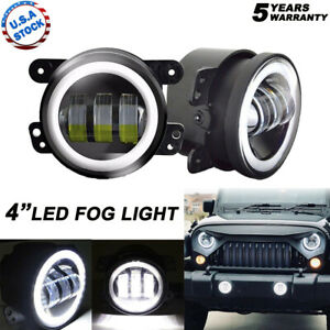 2x 4inch Led Fog Light Drl White Halo Ring For Jeep Wrangler Jk 4 Door 2007 2018