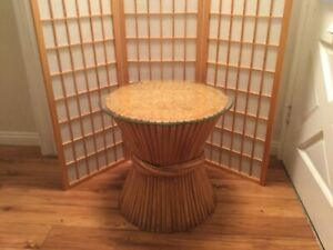 Vintage Wheat Bamboo Rattan Round Glass Top Coffee Table