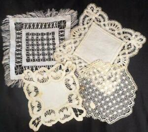 4 Different Vintage Hnd Done Linen Doilies 2 Silk Embroideries