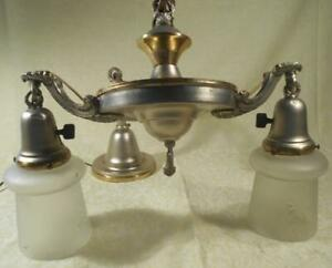 Vintage Double Hanging Ceiling Light Fixture W Switches Org Canopy W Shades