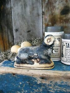 Primitive Chalkware Black Sheep Made From Antique Chocolate Mold Free Shipping