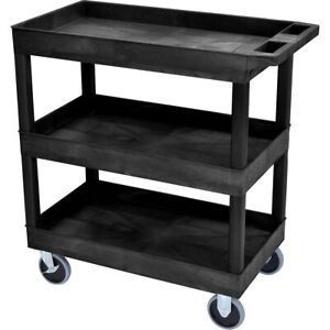 Heavy Duty Utility Service Cart 3 Shelf Push Hand Truck Rolling Shop Tools Trays