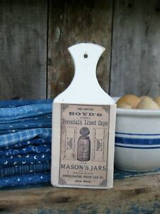 Small Antique Whale Tail Wood Cutting Board Mason Jar Advert Free Shipping