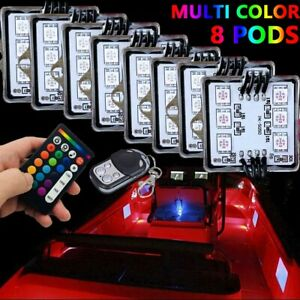 8 Pod Multi Color Led Light Kit Glow Body Neon Car Boat Interior Inside Lighting