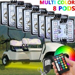 8 Pods Rgb Led Light Kit Body Glow Neon For Club Car Ezgo Yamaha Golf Cart Kart