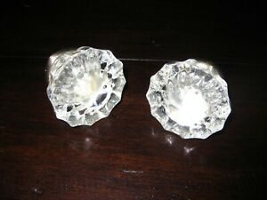Set Of Two 12 Point Glass Crystal Chrome Plated Brass Door Knob Lot