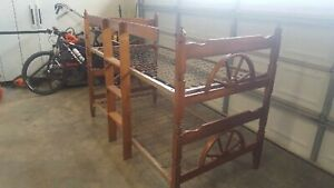 Vintage Solid Wood Maple Wagon Wheel Twin Bunk Beds