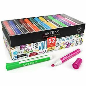 Arteza Erasable Markers Dry Erase Markers Bulk Pack Of 52 with Chisel Tip 12