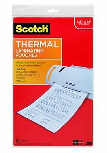 Scotch Thermal Laminating Pouches 8 9 X 14 4 inches Legal Size 20 pack tp385