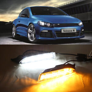 2x Led Daytime Running Lights Fog Lamps W turn Signal For Vw Scirocco R 2009 14