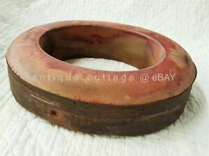 Antique Wood Block Hat Mold Brim Red Paint Metal Trim Millinery Tool Aafa