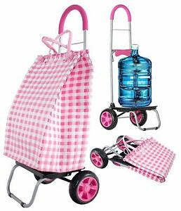 Dbest Products Trolley Dolly Basket Weave Tote Pink Shopping Grocery Cart