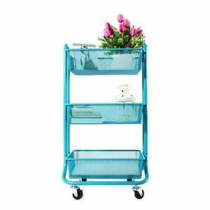 Designa 3 tier Metal Mesh Rolling Storage Cart With Utility Handle Turquoise
