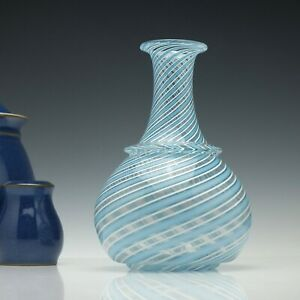 Victorian Blue And White Nailsea Type Trailed Glass Wine Carafe C1845