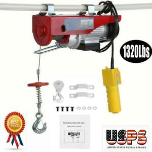 1320 Lbs 110v Electric Cable Hoist Crane Lift Garage Auto Shop Winch W remote Us