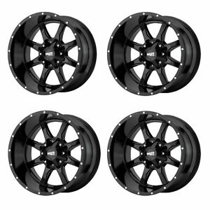 Set 4 17 Moto Metal Mo970 17x8 8x180 Gloss Black Chevy Gmc Truck Wheels 0mm