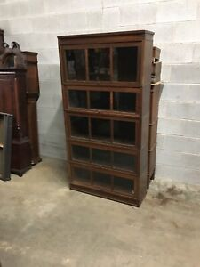 Rare Antique Macey 5 Stack Mission Oak Barrister Bookcase W 3 Panel Glass Doors