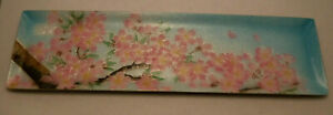 Vintage Chinese Japanese Hand Painted Enamel Pin Tray Dish Cherry Blossom Sgnd