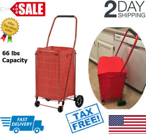 4 Wheel Folding Utility Cart With Wheels Grocery Shopping Bag Collapsible Red