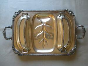 Ornate Silver Plate Meat Serving Tray W Two Covered Wells