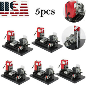 5pcs Metal Motorized Lathe Machine Power Tool Diy Model Making Woodworking 24w