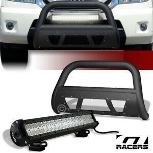 Matte Blk Studded Mesh Bull Bar Guard 120w Cree Led Light For 09 15 Honda Pilot