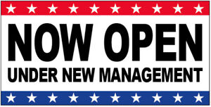 Now Open Under New Management Vinyl Banner Sign 2 To 20 Ft Stars Wb
