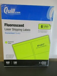 600 ct Quill Fluorescent Yellow Laser Shipping Labels 6up 4 X 3 33 100 Sheets