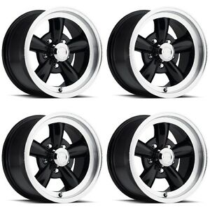 Set 4 17 Vision 141 Legend 5 Black Machined Rims 17x9 5x4 75 Chevy Buick 5 Lug