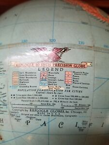 Vintage Replogle 10 10 Inch Precision Globe Years 1949 To 1953