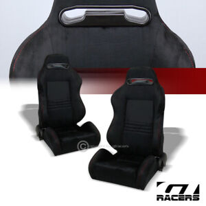 2x Universal T R Black Suede Red Stitch Reclinable Racing Bucket Seat Slider G01