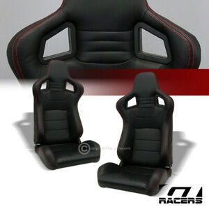 2x Universal Mu Black Pvc Leather Red Stitches Racing Bucket Seats sliders G01