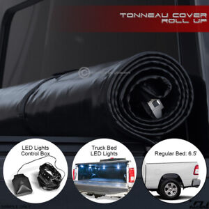 For 2019 Dodge Ram 1500 6 4 Ft Bed Lock Roll Up Tonneau Cover W Led Lights