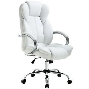White High Back Pu Leather Executive Office Desk Computer Chair W metal Base O18