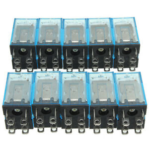 10x Dc 12v Coil Power Relay Ly2nj Dpdt 8 Pin Hh62p Jqx 13f Socket Base New