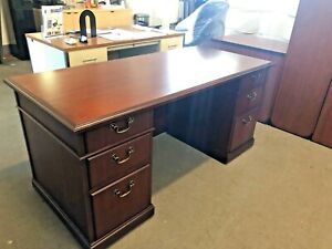 Traditional Style Executive Desk By Kimball Office Furniture In Mahogany Wood