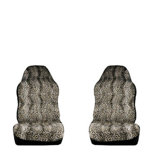 Universal Car Fabric Seat Cover Protector Leopard Animal Print Protector Pair