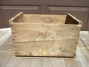 Vintage Wooden Apple Orchard Fruit Shipping Crate