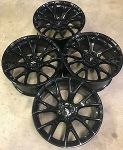 Set 20 Inch Dodge Challenger Hellcat Oem Wheels Rims Gloss Black 2528 Charger